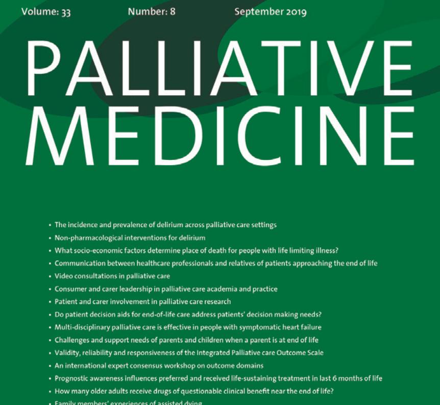 Palliative Medicine Journal - partial cover